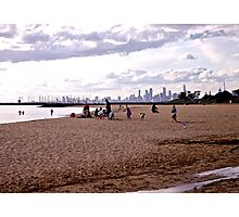 Melbourne City skyline from Brighton Beach Photographic Print