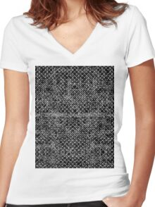 Cyrkiit Black and White Women's Fitted V-Neck T-Shirt