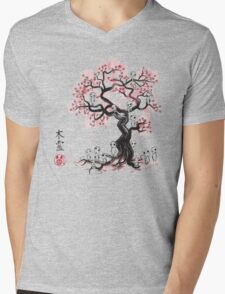 Forest Spirit Sumi-e Mens V-Neck T-Shirt