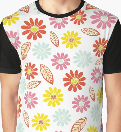 Summer Floral With Leaves Bright Colors Graphic T-Shirt