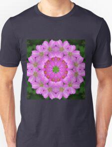 Rosy pink floral mandala Unisex T-Shirt