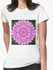 Rosy pink floral mandala Womens Fitted T-Shirt
