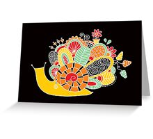 Cute Snail with Flowers & Swirls on Dark Background Greeting Card