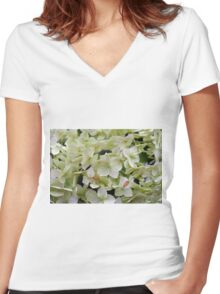 Natural background with small green leaves and flowers. Women's Fitted V-Neck T-Shirt