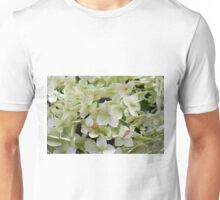 Natural background with small green leaves and flowers. Unisex T-Shirt