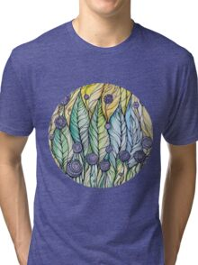 Dandelions.Hand draw  ink and pen, Watercolor, on textured paper Tri-blend T-Shirt