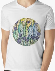 Dandelions.Hand draw  ink and pen, Watercolor, on textured paper Mens V-Neck T-Shirt