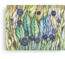 Dandelions.Hand draw  ink and pen, Watercolor, on textured paper Canvas Print