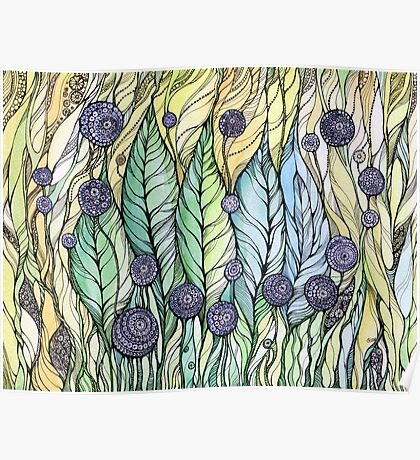 Dandelions.Hand draw  ink and pen, Watercolor, on textured paper Poster