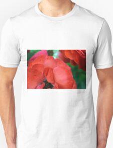 Macro on red roses petals. Unisex T-Shirt