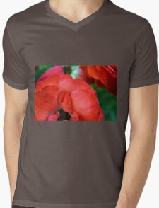 Macro on red roses petals. Mens V-Neck T-Shirt