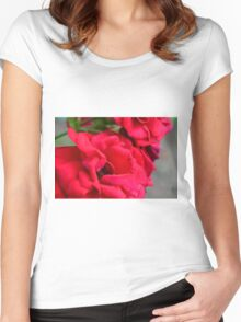 Macro on red roses petals. Women's Fitted Scoop T-Shirt