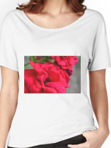 Macro on red roses petals. Women's Relaxed Fit T-Shirt