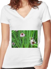 Pink large flowers in the grass. Women's Fitted V-Neck T-Shirt