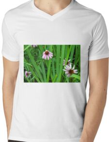 Pink large flowers in the grass. Mens V-Neck T-Shirt