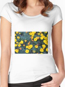Beautiful yellow flowers texture. Women's Fitted Scoop T-Shirt