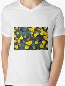 Beautiful yellow flowers texture. Mens V-Neck T-Shirt