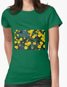 Beautiful yellow flowers texture. Womens Fitted T-Shirt
