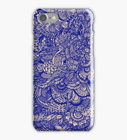 Hand drawing purple and yellow zentangle pattern iPhone Case/Skin