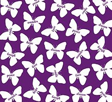Butterfly Words White by Andrew Alcock