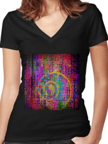 Trippy Abstract Women's Fitted V-Neck T-Shirt