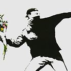 Flower Thrower Banksy Graffiti Street Art by geekuniverse