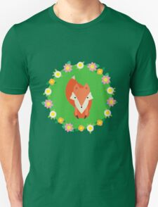 Fox with flowers on a field of Green T-Shirt