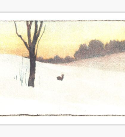 Vintage Snow Scene Sticker