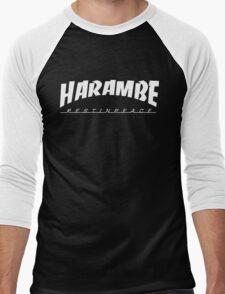 HARAMBE WHITE LOGO Men's Baseball ¾ T-Shirt