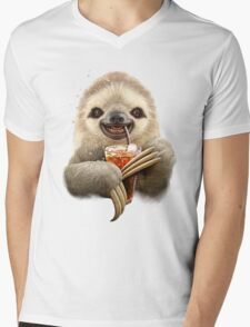 SLOTH & SOFT DRINK Mens V-Neck T-Shirt