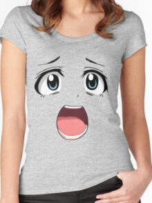 Anime face blue eyes Women's Fitted Scoop T-Shirt