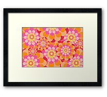 Retro Pink Yellow Tones Floral Pattern Framed Print