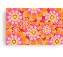 Retro Pink Yellow Tones Floral Pattern Canvas Print