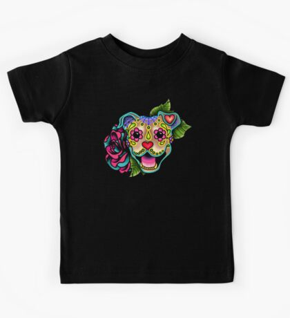 Smiling Pit Bull in Fawn - Day of the Dead Happy Pitbull - Sugar Skull Dog Kids Tee