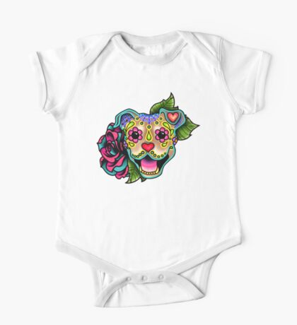 Smiling Pit Bull in Fawn - Day of the Dead Happy Pitbull - Sugar Skull Dog One Piece - Short Sleeve
