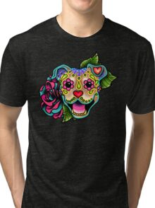Smiling Pit Bull in Fawn - Day of the Dead Happy Pitbull - Sugar Skull Dog Tri-blend T-Shirt