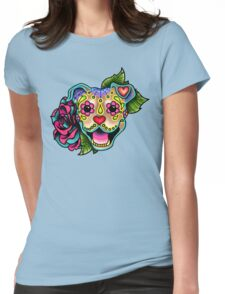 Smiling Pit Bull in Fawn - Day of the Dead Happy Pitbull - Sugar Skull Dog Womens Fitted T-Shirt
