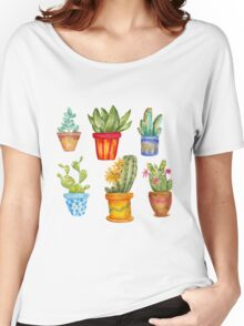 Watercolor cactus set Women's Relaxed Fit T-Shirt
