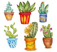 Watercolor cactus set Photographic Print