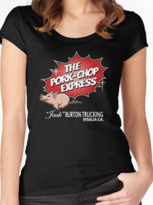 Pork Chop Express - Large Central Logo  Women's Fitted Scoop T-Shirt