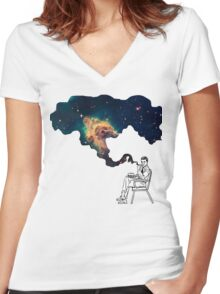 Galaxy Smoke Women's Fitted V-Neck T-Shirt