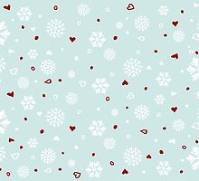 Holiday Snowflakes Hearts on Blue by ruxique