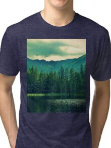 Landscape - Forest - Mountain - Lake - Green Tri-blend T-Shirt