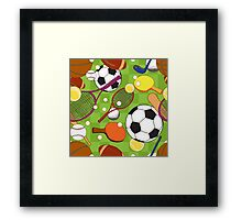 Sport ball seamless pattern Framed Print