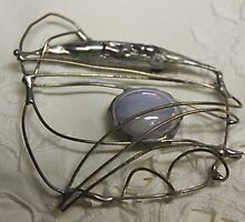 Wire and Iridescent Glass Jewel Brooch by Maree  Clarkson