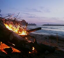 Dying Fire at Sunset Beach by jessicatalia