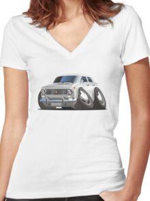 Cartoon retro car Women's Fitted V-Neck T-Shirt