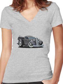 Cartoon retro pickup Women's Fitted V-Neck T-Shirt