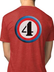 4, FOUR, ROUNDEL, NUMBER 4, FOURTH, TEAM SPORTS, Competition, Tri-blend T-Shirt