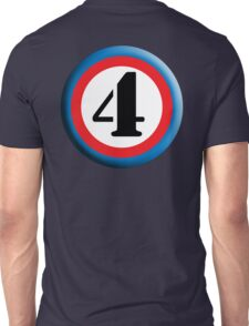 4, FOUR, ROUNDEL, NUMBER 4, FOURTH, TEAM SPORTS, Competition, Unisex T-Shirt